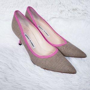 Manolo Blahnik Tweed Burlap Heels